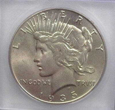 1935 Peace Silver Dollar Icg Ms64  Valued At 210!