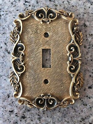 Florenta of California 1970 Single Switch Plate Gold Tone Floral W/ Roses