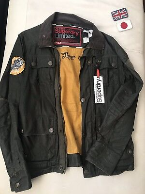 Superdry Mens M Wax Motorcycle International Jacket, Barbour Style With Tags