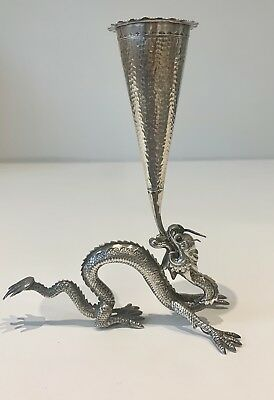 An incredible Antique Chinese Export Solid Silver Dragon Vase. Qing Dynasty