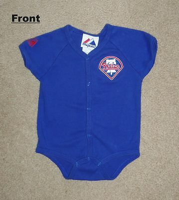 """Majestic Royal Blue Onesy says """"Phillies"""" - 100% Cotton - Size 6 To 9 Months"""