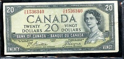 "Circulated 1954 Bank of Canada 20 Dollars ""Devils Head"" Bank Note ME284"