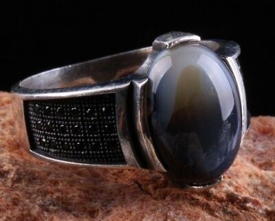 Turkish Handmade  925 Sterling Silver Agate Mens Ring Sz 10 Free Resize-101