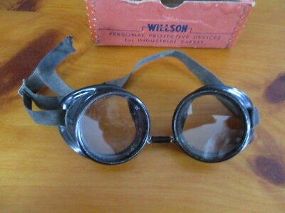 Antique pair of Willson industrial safety glasses with original box. made USA