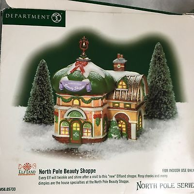 Department 56 North Pole Beauty Shoppe Christmas Village Scene
