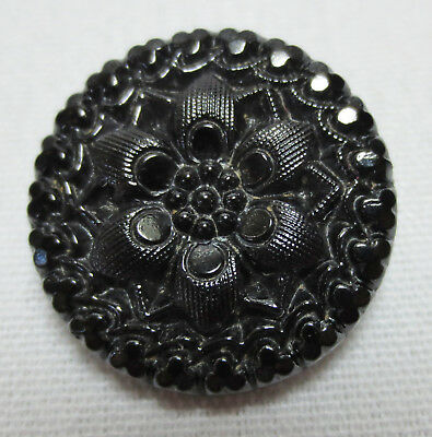 Antique Button Le Mode BLACK GLASS Round Lacy Like Ornate FLOWER