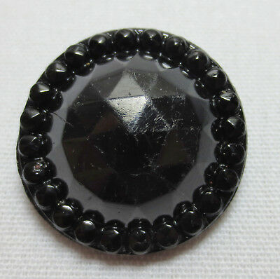 Antique Button BLACK GLASS Round Faceted DOME Beaded Rim #12