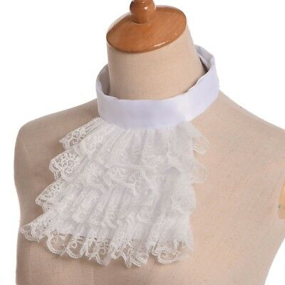 Jabot Collar Victorian Detachable Lace Ruffle White Steampunk Edward Collar