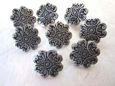 "3/4"" EDWARDIAN INSPIRED Metal Buttons (8 pc) ANTIQUE SILVER-TONE"