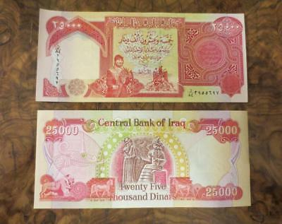 one ~ 25000 Iraqi Dinar Note Iraq Money ~ Authentic Uncirculated