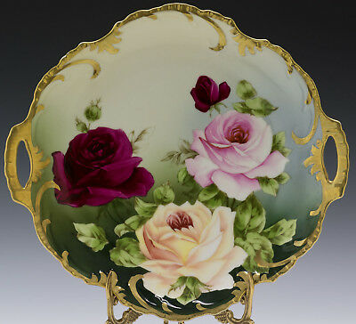 Antiques  Bavaria Hand Painted Roses Cake Plate