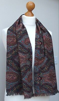 "Vintage Liberty Of London Double Sided Varuna Wool Paisley Tube Scarf 11¼""x 48½"""
