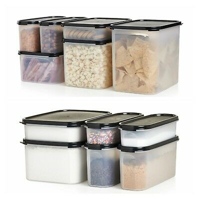 Tupperware Modular Mates Super Ovals/rectangular 12 PC set black/grey/red seals