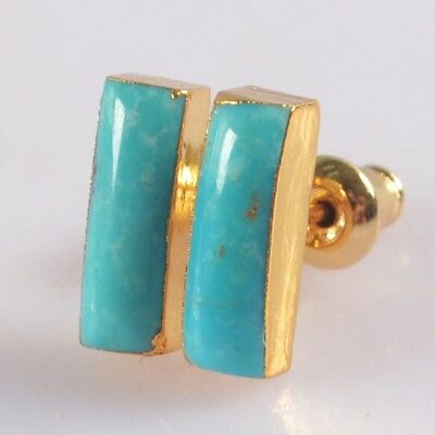 11x4mm Natural Genuine Turquoise Stud Earrings Gold Plated T073902