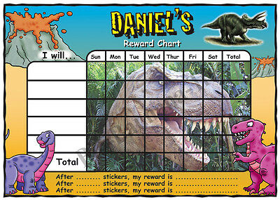 DINOSAUR TREX Personalised POTTY Toilet TRAINING Reward Chart & FREE stickers