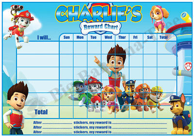 PAW PATROL Personalised POTTY TOILET TRAINING reward Chart & FREE stickers
