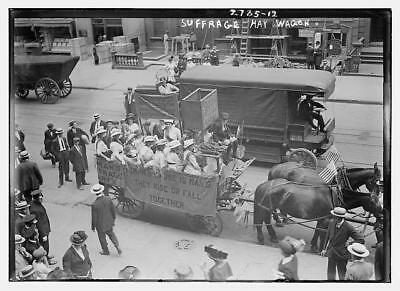Suffrage Hay Wagon,horse-drawn wagon,Suffragists,Women,US Flags,1910-1915 1