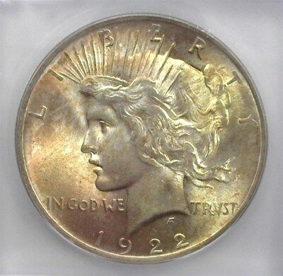 1922 Peace Silver Dollar  Icg Ms66 Lists For $385