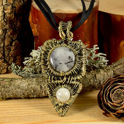 Rutilated Quartz Moonstone Brass Wire Wrapped Pendant Vintage Natural Stone mba