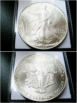 1986 ((Better Date))American Silver Eagle Choice Unc Gem Bu Coin