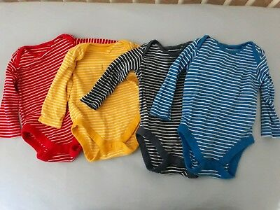 5 Boys Long Sleeved Striped Vests 6-9 Months Mothercare