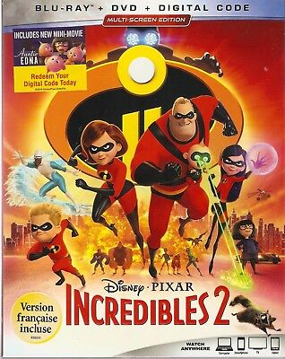 DISNEY PIXAR THE INCREDIBLES 2 BLURAY & DVD & DIGITAL SET with Craig T. Nelson
