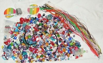 Job Lot Jewellery Making Kit, Glass Beads Cord,Helix, Organza Ribbon Necklace