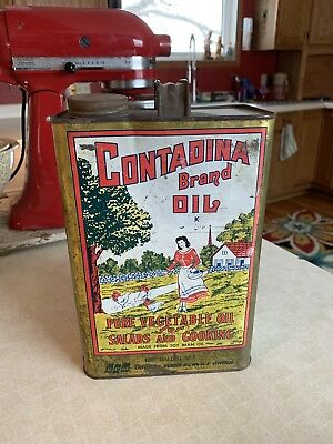 RARE Antique Tin CONTADINA PURE VEGETABLE OIL Vintage Cooking Can ONE GALLON