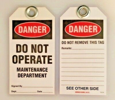 """DANGER DO NOT OPERATE"" Lockout TAGS • IDESCO Safety T1-71T  • USA"