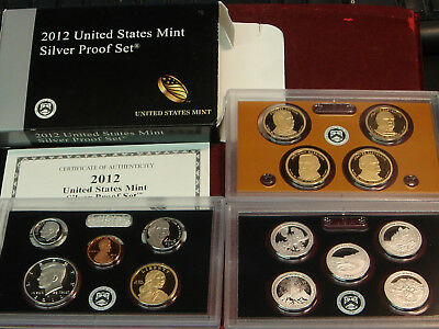 2012 United States Mint SILVER Proof Set - 14 coins w/ Box and COA US