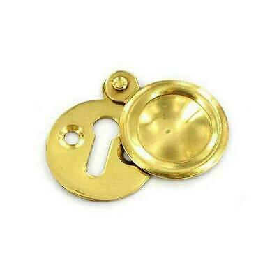 Securit Polished Brass Keyhole Escutcheon With Screws Swinging Cover Plate 35mm