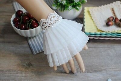 1Pair Elizabeth Lace Cuffs Lace with beads Victorian Bracelet Medieval Accsesory