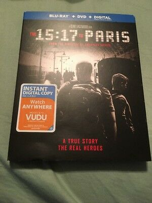 The 15:17 To Paris (Blu-Ray + DVD + Digital) 2018 w/SLIP COVER **NEW & SEALED**