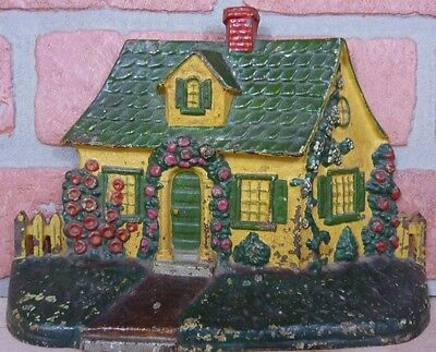 Old Cast Iron House Home Picket Fence Shrubs Landscape Doorstop Figural