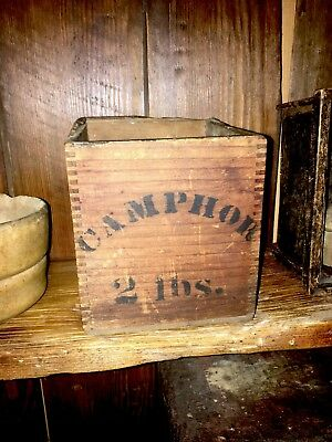 Early Stenciled 2 Lbs Camphor Wooden Box Dove Tails Original Stenciling Ad Box