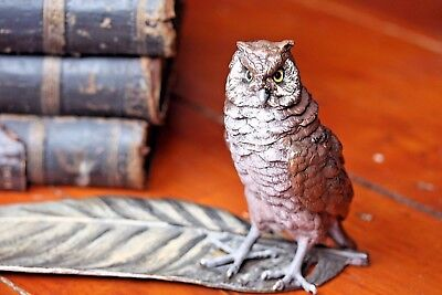 Bronze Austrian Cold Painted Owl Bird Inkwell On Quill Feather