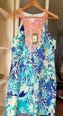 1c24bbaa32dd29 New Lilly Pulitzer Pearl Shift Dress Brilliant Blue Wade And Sea Size 14  09047
