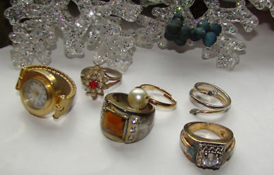 Vintage Lot Of  6 Rings,rhinestone,faux Pearl,watch Different Sizes