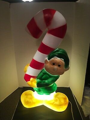 "General Foam 32"" Lighted Elf With Candy Cane Blow Mold Christmas Decoration"