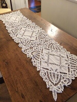 "Antique White Linen Drawn Work Battenberg Tape Lace Runner Repaired 54"" x 15"""