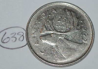 Canada 1969 25 cents Canadian Caribou Quarter Coin Lot #638