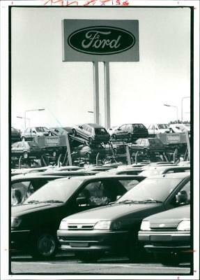 Motor Car: Ford cars awaiting delivery. - Vintage photo