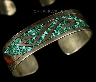 Old Pawn VINTAGE Natural Chip Inlay TURQUOISE Sterling 1970's Bracelet