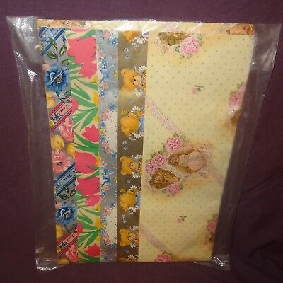 Vintage Mixed Gift Wrap Wrapping Paper Sheets New Old Stock Flowers Teddy Bear
