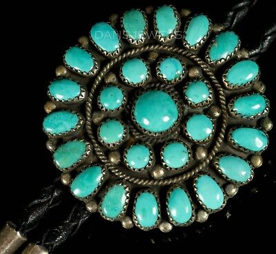 Old Pawn Vintage Navajo Natural Kingman Cluster TURQUOISE Sterling Bolo Tie