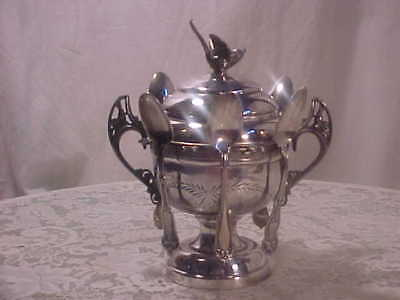 VICTORIAN silver plated Sugar Bowl / Spooner with bird finial + 6 Spoons