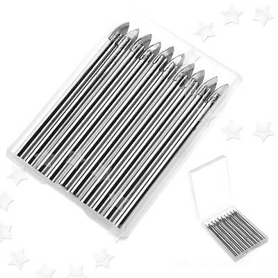 10pcs Straight Shank Tile And Glass Drill Bit Spear Head 6mm Carbide Tip