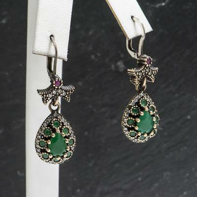 4.34ctw Emerald & White Sapphire 14k Yellow Gold / .925 Sterling Silver Earrings