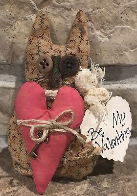 Very Primitive Made *Be My Valentine* Grubby Kitty Heart & Key