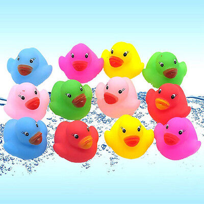12pcs Mini Bathtime Rubber Duck Kids Baby Bath Toy Squeaky Water Play Fun Dote